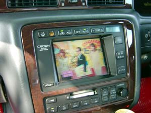 a tv in a car