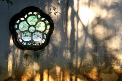shadows on a wall in the Chinese Garden, Naha